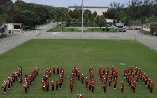 A Banda Marcial fez evoluções formando figuras e a palavra Honra