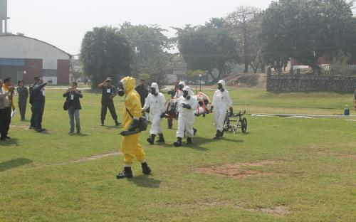 Durante o EXBRALQ, foi realizada uma demonstração de evento simulado envolvendo agente químico