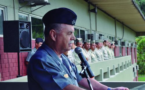 O propósito do desfile foi apresentar a tropa e os veículos operativos do CFN ao AE Gusmão