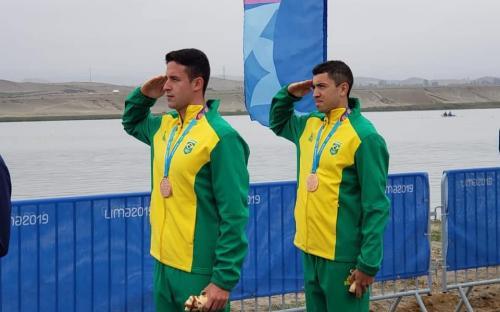 No Remo, os Sargentos Uncas Batista e Lucas Verthein conquistaram o bronze na prova do Skiff Duplo