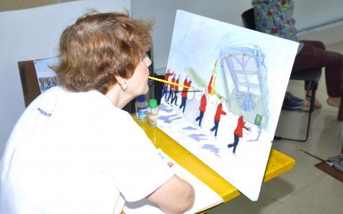 A artista Eusuclêmia Vieira fez uma demonstração ao vivo durante o evento