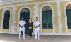 Da esquerda para direita: Capitão dos Portos, Capitão de Fragata Fábio Cândido; Superintendente do Iphan-MS, Maria Clara Scardini; e Chefe do Estado-Maior do Com6ºDN, Alexandre José Gomes Dória