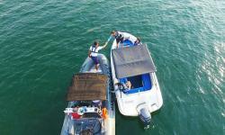 Embarcação da Delegacia Fluvial de Cuiabá realizando inspeção naval