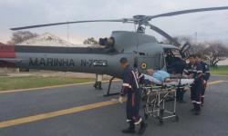 Idoso resgatado pela aeronave da Marinha