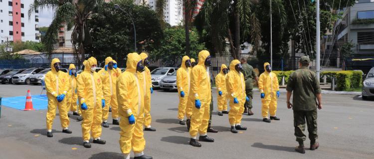 Comando do 8º Distrito Naval promove Estágio de Desinfecção de Defesa Nuclear, Biológica, Química e Radiológica em combate à COV