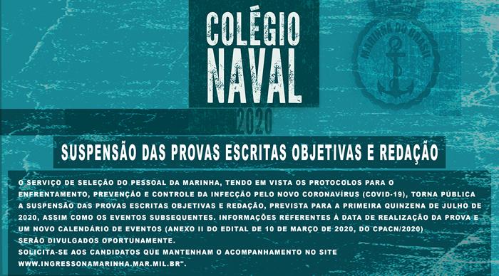 Colégio Naval - Suspensão das Provas Escritas Objetivas e Redação
