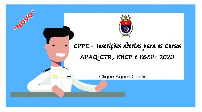 CPPE - Inscrições abertas para os Cursos APAQ-CTR, EBCP e ESEP- 2020