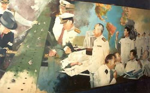 Painel com o Presidente Getúlio Vargas e o Almirantado durante a Segunda Guerra Mundial