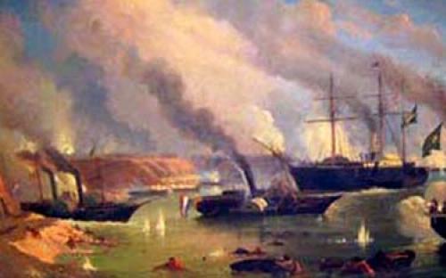 """""""Batalha Naval do Riachuelo"""", óleo sobre tela de Eduardo de Martino"""