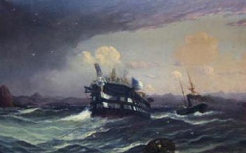 """""""Salvamento da Nau Vasco da Gama pela Fragata a vapor Dom Afonso"""", óleo sobre tela de Eduardo De Martino"""