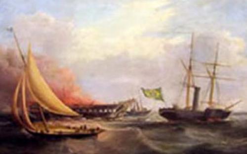 """""""Salvamento da Nau Ocean Monarch pelo Vapor Dom Afonso"""", óleo sobre tela de Samuel Walters"""