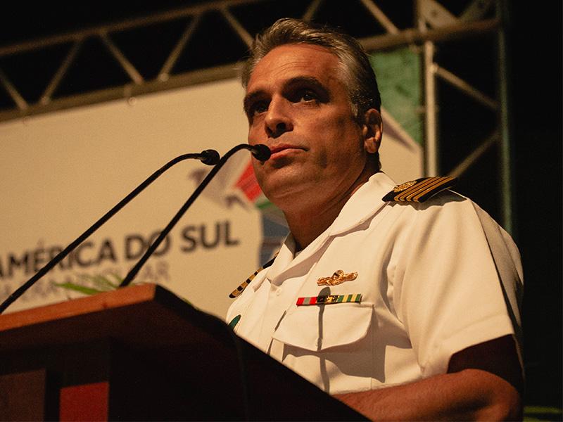 bb2bad003 O Capitão de Mar e Guerra (EN) Sineiro apresentou o Projeto de Construção  do Submarino com Propulsão Nuclear da Marinha, na Abertura do evento