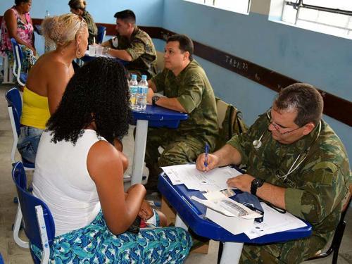 ccbdaf837 Equipe de médicos da Marinha realizando atendimento aos moradores da Vila  Kennedy